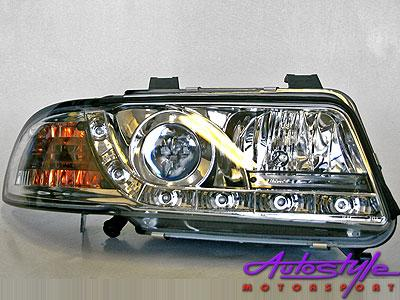 Audi A4 '95-99 B5 Chrome Headlight with LED Drivi-0