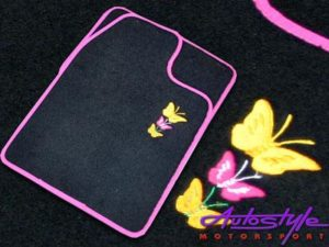 Butterfly Car mats with pink trim-0