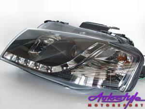 Audi A3 DRL Black Headlights 03-08 Model-0