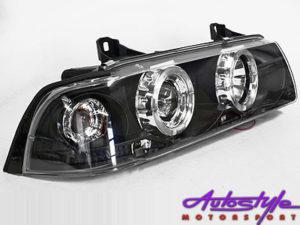 Non-Original Smoke Angel Eye Headlights suitable to fit Bmw E36 Available in 2 door and 4 door Models-0