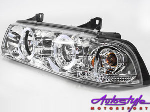 Non-Original Chrome Angel Eye Headlights suitable to fit Bmw E36 Available in 2 door and 4 door Models-0