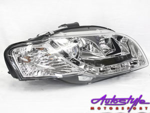 Audi A4 B7 2005 Chrome LED DRL Headlights-0