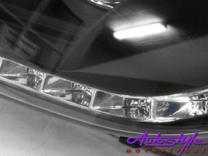 Audi A4 2004 Tube Style DRL Headlamps (black)-15494