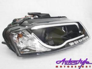 Audi A3 LED Tube Black Style Headlights (2008)-0